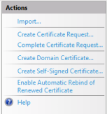 Server Certificates actions
