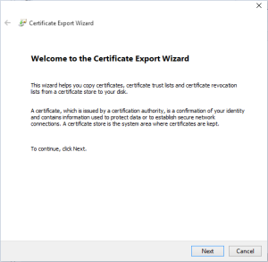 Export wizard