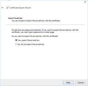 Export the private key